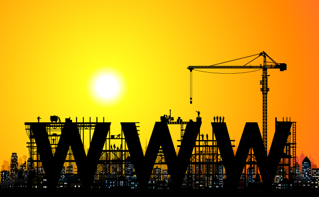 Image showing a construction site and the words 'WWW', symbolising a website under development
